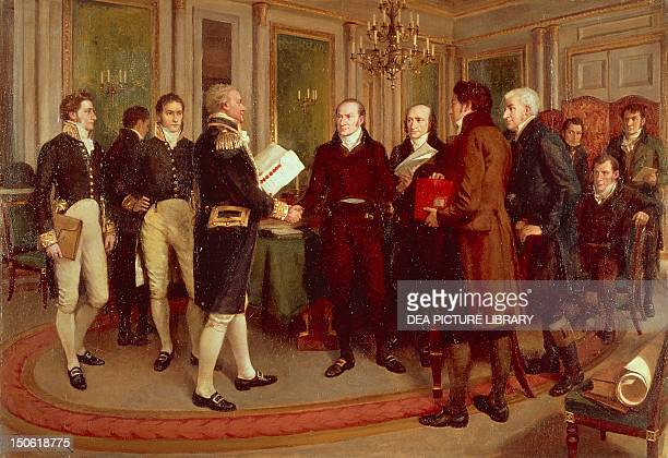 Hundred Years Peace the signing of the Treaty of Ghent between Great Britain and the US Dec 24 to end the War of 1812 Painting by Amedee Forestier...