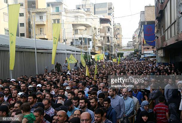 Hundreds attend the funeral ceremony of Mustafa Badreddine a Hezbollah military commander died in an explosion near Syria's Damascus airport in the...