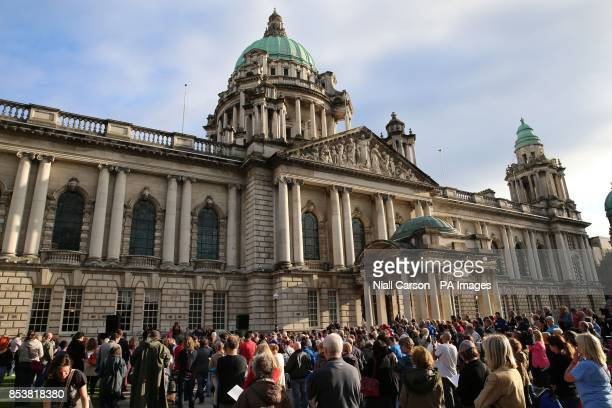 Hundreds gather at Belfast City Hall tonight for a multifaith service to pray for peace in the middle East and an end to other Global conflicts