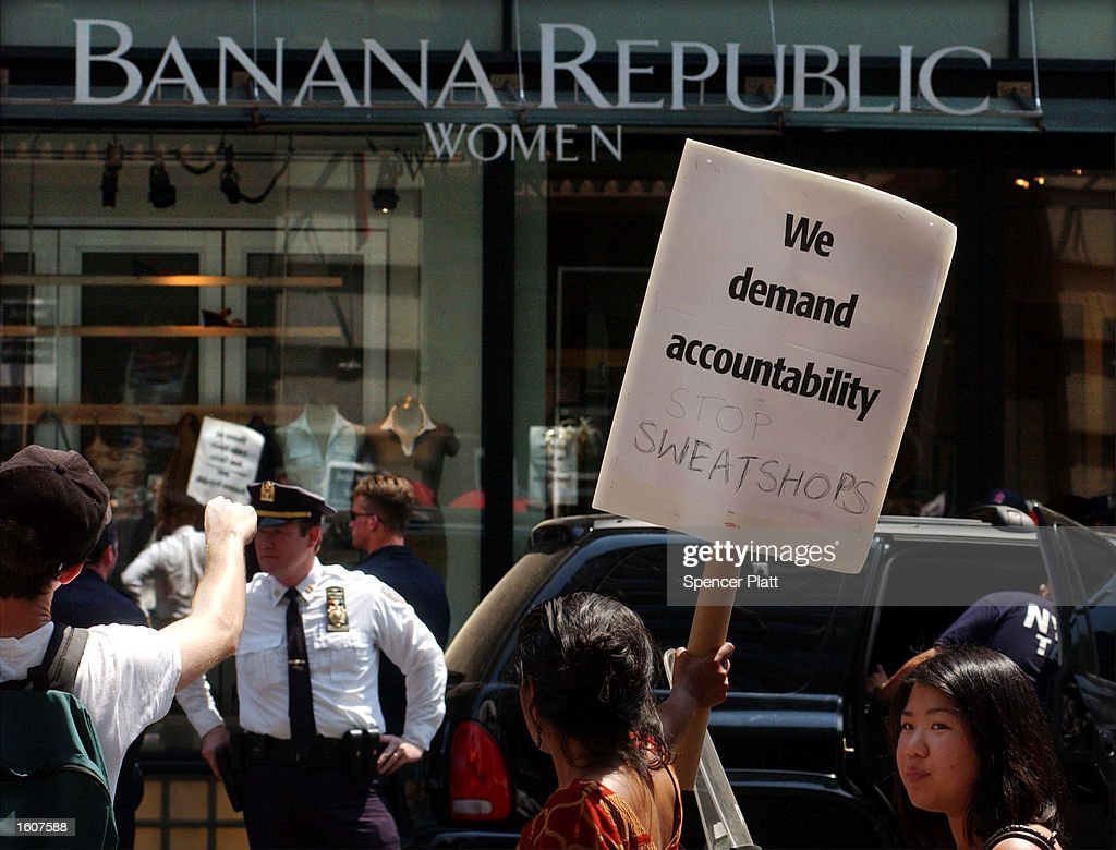 Hundreds of anti sweatshop protesters rally in front of a Banana Republic clothing store one of numerous chain stores they claim are using sweatshop...