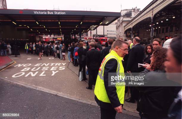 Hundreds of commuters queue up at Victoria Bus Station in central London this morning as they struggle to find an alternative route to work after a...