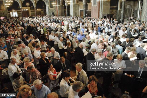 Hundreds of couples at Westminster Cathedral in London renewing their vows at a special mass