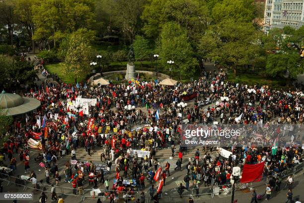 Hundreds of demonstrators attend a May Day rally in Union Square May 1 2017 in New York City Across the country and world people are protesting...