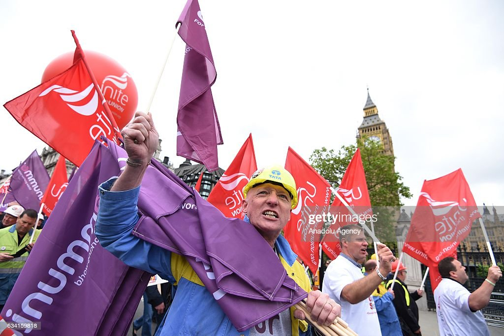 Hundreds of demonstrators from steel industry unions gather to stage a protest march over what they call the Government's failure to deal with the crisis in their industry, in London, United Kingdom on May 25, 2016.
