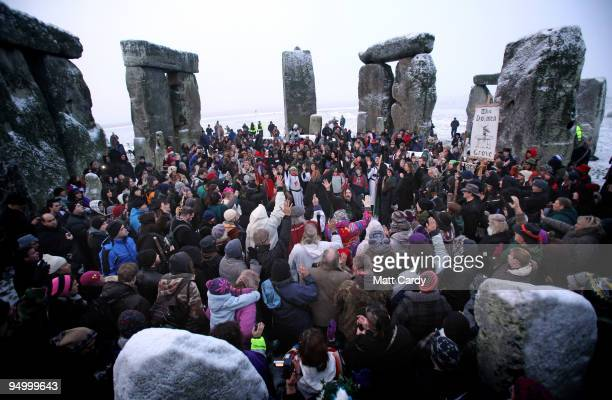 Hundreds of druids and pagans celebrate the winter solstice at Stonehenge on December 22 2009 in Wiltshire England Hundreds of people gathered at the...