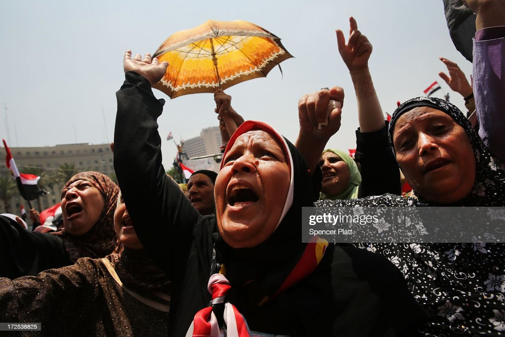 Hundreds of Egyptian protesters begin to gather in Tahrir Square as the deadline given by the military to Egyptian President Mohammed Morsi approaches on July 3, 2013 in Cairo, Egypt. The president gave a defiant speech last night and vowed to stay in power despite the military threats. As unrest spreads throughout the country, at least 23 people were killed in Cairo on Tuesday and over 200 others were injured.