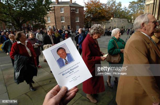 Hundreds of fans go into York Minster today Thursday November 10 for the memorial service to Countdown presenter Richard Whiteley The service was...