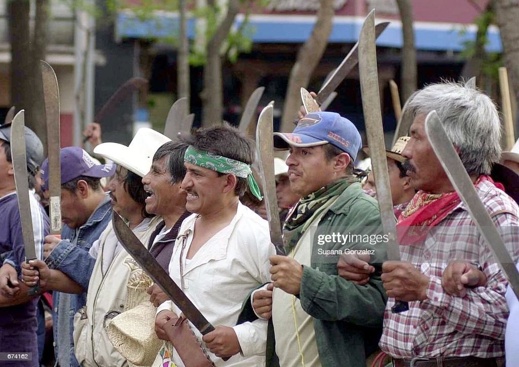 Hundreds of farmers march during a protest against the construction of a new airport November 28 2001 in Mexico City The planned construction of the...