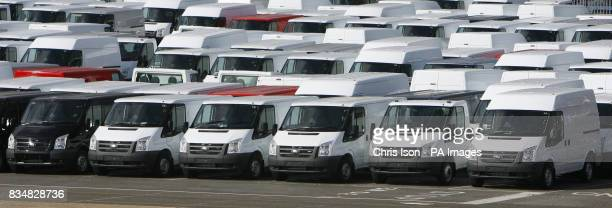 Hundreds of Ford Transit vans awaiting export at Southampton Docks near the Ford factory in Southampton where workers have started a fourday week as...