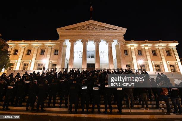 Hundreds of French police officers demonstrate on the stairs of the justice city hall of Marseille to protest over mounting attacks on officers on...