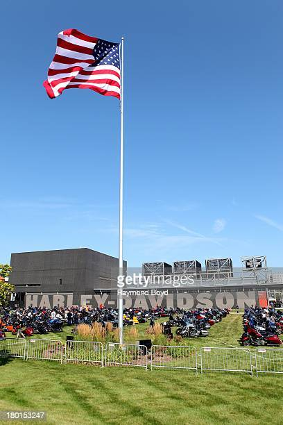 Hundreds of HarleyDavidson motorcycles from around the world sits outside the HarleyDavidson Museum to commemorate the HarleyDavidson 110th Year...