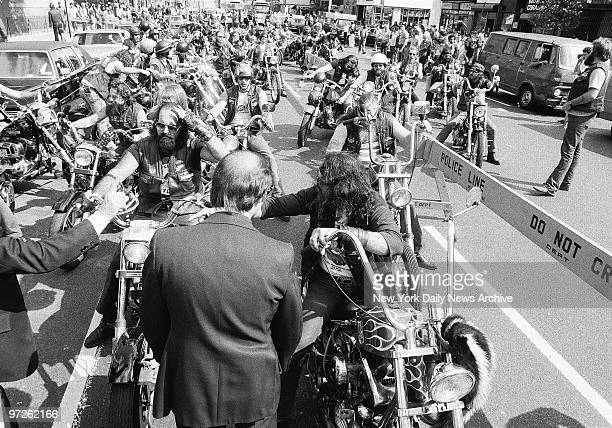 Hundreds of Hells Angels members start to prepare to join in the funeral precession of Vincent Girolamo the president of the New York City chapter...