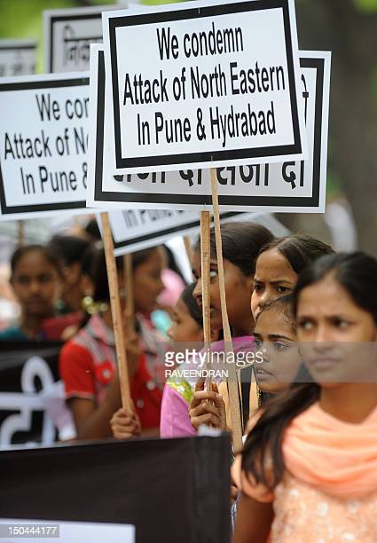 Hundreds of Hindu activists hold placards during a protest rally in New Delhi on August 18 2012 against three weeks of clashes in the northeastern...