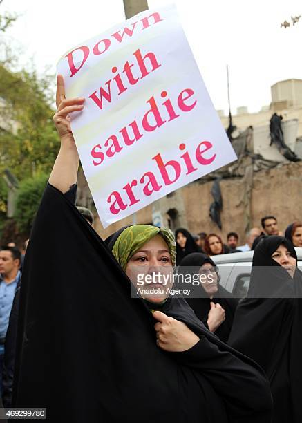 Hundreds of Iranians gather outside the Saudi Arabia Embassy in Tehran on April 11 2015 to protest over the alleged abuse of two teenage Iranian boys...