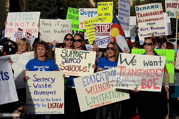 Hundreds of Jefferson county students teachers and parents took to the streets for a rally to protest the curriculum review committee proposed by the...