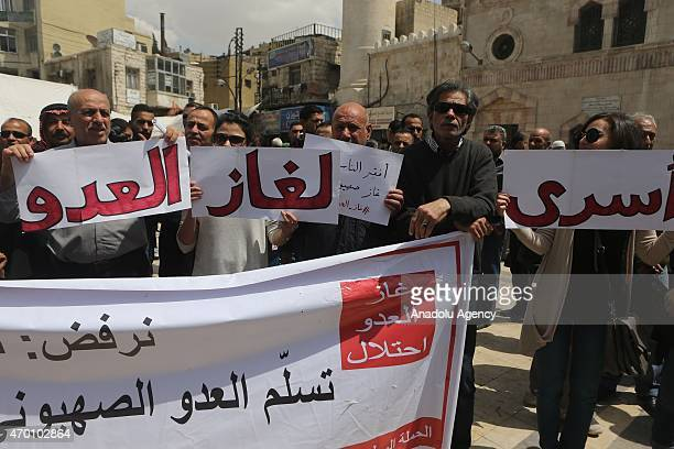 Hundreds of Jordanians hold banners and shout slogans during a protest against an oncoming natural gas agreement between Israel and Jordan after...
