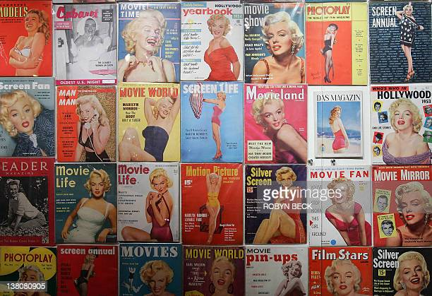 Hundreds of magazines featuring Marilyn Monroe on the cover are displayed at 'Marilyn Monroe The Exhibit' 18 November 2005 on the Queen Mary in Long...