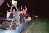 Hundreds of opposition supporters celebrate 06 October 1988 the defeat of General Augusto Pinochet in the 05 October 1988 in Santiago 'Yes or no'...