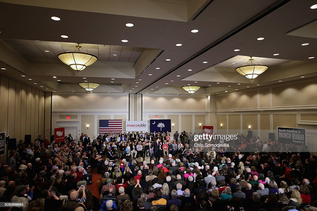 Hundreds of people attend a campaign rally with Republican presidential candidate Sen. <a gi-track='captionPersonalityLinkClicked' href=/galleries/search?phrase=Marco+Rubio+-+Politician&family=editorial&specificpeople=11395287 ng-click='$event.stopPropagation()'>Marco Rubio</a> (R-FL) at the Marriott hotel February 10, 2016 in Spartanburg, South Carolina. Rubio placed fifth in the New Hampshire primary, behind fellow GOP candidates Jeb Bush, John Kasich, Sen. Ted Cruz (R-TX) and Donald Trump, who swept away the competition with 35-percent of the vote.