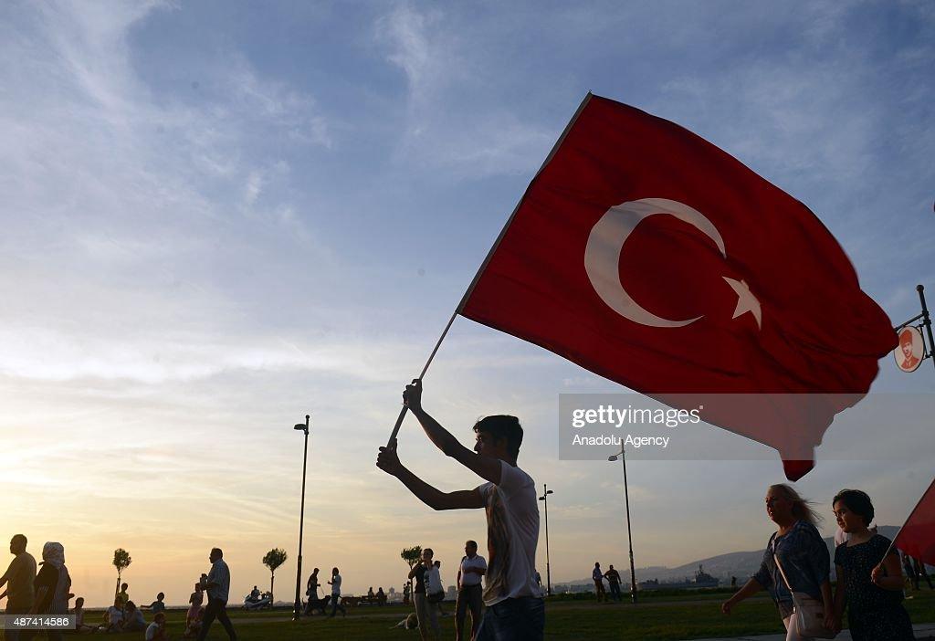 Hundreds of people attend a protest rally against PKK's terrorist attacks around the Turkey on September 09 2015 in Izmir Turkey