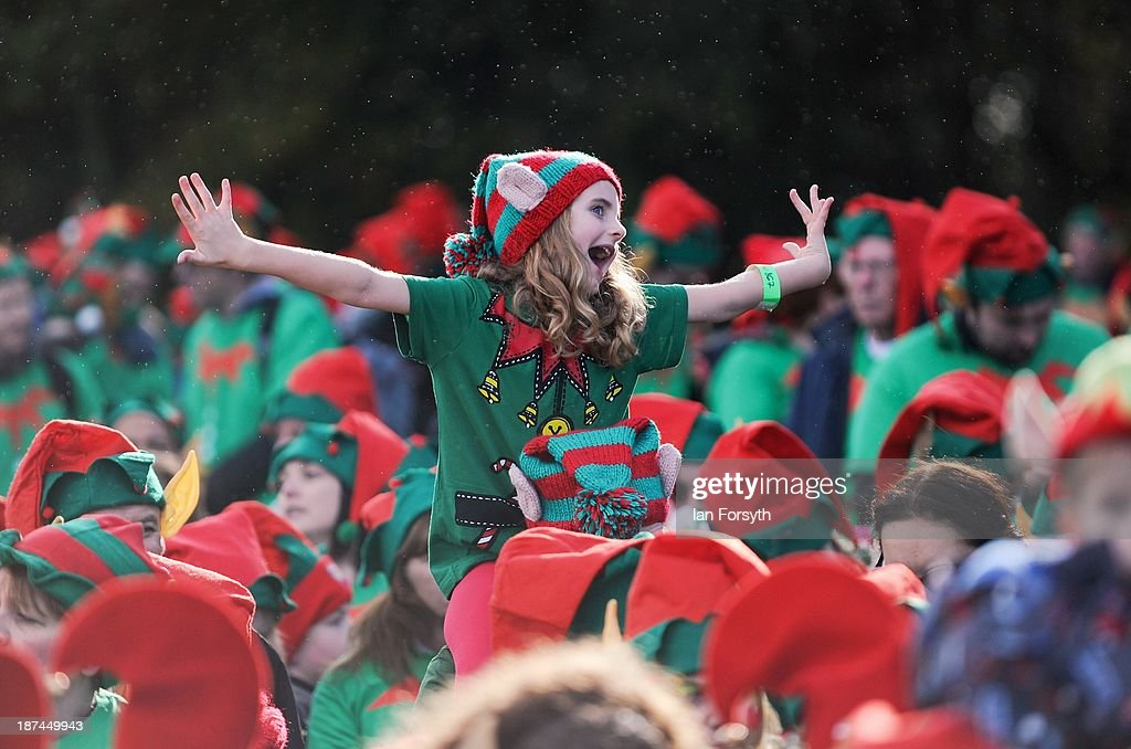 Hundreds of people attend an event in an attempt to break the world record for the largest gathering of Santa Elves at Stockeld Park on November 9, 2013 in York, England. The event, which eventually saw the record broken with a total of 1116 elves, was organised in order to raise money for the Martin House Children's Hospice who care for children and young people with progressive life-limiting illnesses.