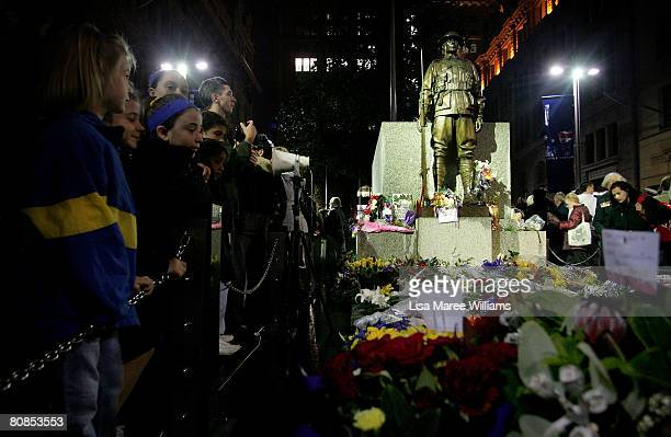 Hundreds of people crowd around the centotaph in Martin Place during Dawn Service on April 25 2008 in Sydney Australia ANZAC stands for Australian...