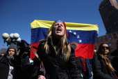Hundreds of people demonstrate in support of the Venezuelan opposition during a protest in Union Square on February 22 2014 in New York City...