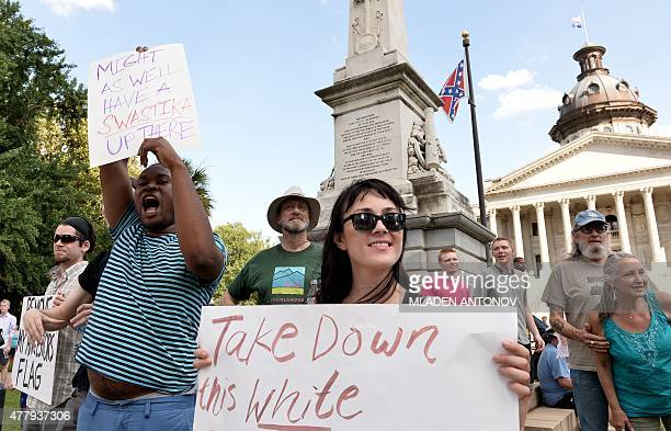 Hundreds of people gather for a protest rally against the Confederate flag in Columbia South Carolina on June 20 2015 The racially divisive...