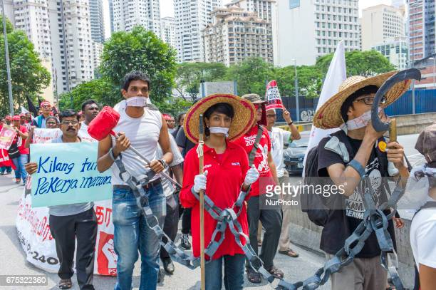Hundreds of people gather for Labor Day demonstrations on May 1st 2017 at Kuala Lumpur Malaysia