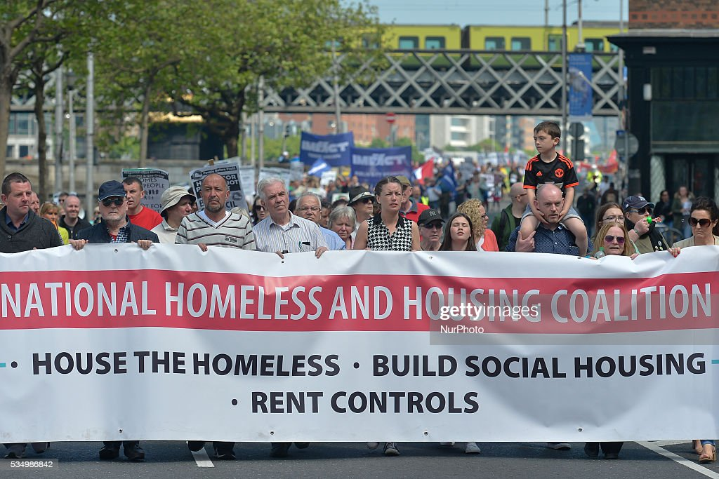 Hundreds of people gathered in Dublin city center to protest against the Homelessness and Housing Crisis. The protest was organised by IMPACT and SIPTU unions and joined by 'People Before Profit' political party and other charities and organisations. As per the latest figures, Ireland is still in a housing ongoing crises and is now facing a serious homeless problem, with over 6,000 homeless including 2,000 children. On Saturday, 28 May 2016, in Dublin, Ireland.