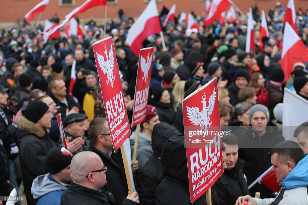 Hundreds of people gathered in Warsaw, Poland in the old city square protesting against what the organizers of the demonstration called the, Islamization of Europe. The National Movement (Ruch Narodowy) group and the Youth Movement (Modzie Wszechpolsk) group, both Polish right wing groups organized the march as a way to show, in the groups opinion that Poles and the rest of Europe are against allowing any immigrants and refugees from the Middle East to come to Europe. Group organizers warned people that police had told them no racist epitaphs would be tolerated, however, large groups of Polish men yelled racist slurs and epitaphs during the rally. The protest was part of a European-wide protest happening in other major cities across Europe including Dresden, Germany, Prague, Czech Republic, and Bratislava, Hungary.