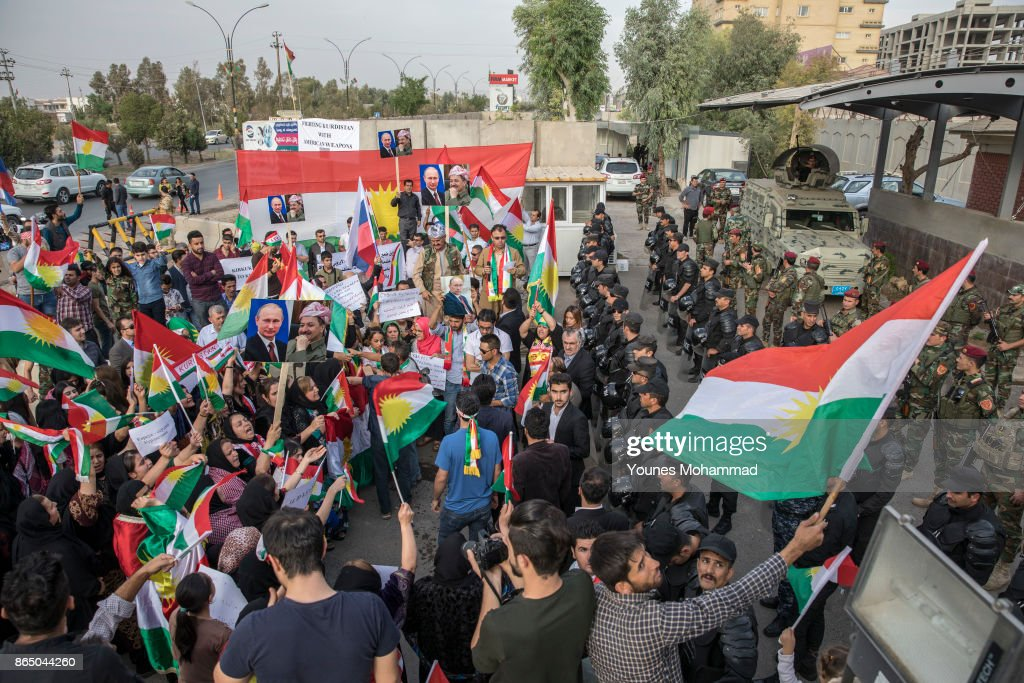 Protests Outside Russian Consulate In Erbil