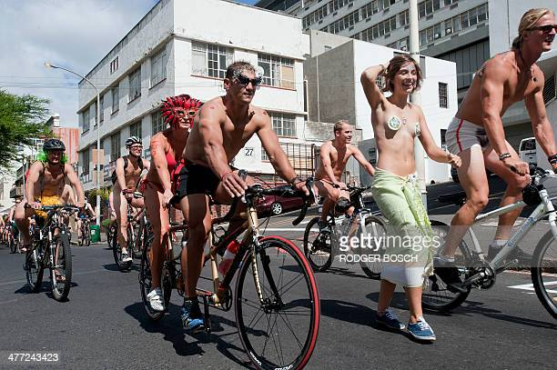 Hundreds of people take part in the annual Naked Bike Ride through the streets in the city centre on March 08 in Cape Town This is the Cape Town...