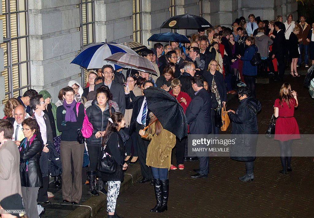 Hundreds of people wait outside the parliament building in Wellington on April 17, 2013 for a place in the public gallery to see the chamber vote on a bill amending the 1955 Marriage Act to describe matrimony as a union of two people regardless of their sex, sexuality or how they choose to identify their gender. New Zealand's gay community was gearing up Wednesday to celebrate the country becoming the first in the Asia-Pacific to legalise same-sex marriage after a decades-long campaign for equality.