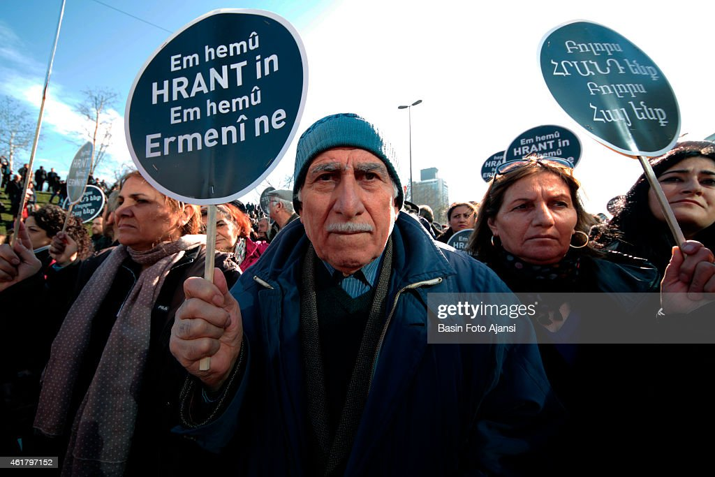 Hundreds of people walked for <a gi-track='captionPersonalityLinkClicked' href=/galleries/search?phrase=Hrant+Dink&family=editorial&specificpeople=741548 ng-click='$event.stopPropagation()'>Hrant Dink</a>. He was memorized by hundreds of people walking in front of his newspaper for his 8th year of being murdered. during the walking, while walking banners with 'everyone of us are hrant, everyone of us are armenians' are spotted.