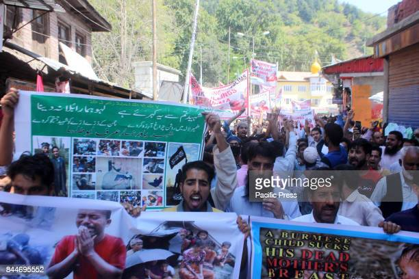 Hundreds of protesters took to roads after Friday Prayers to protest against the Persecution of Myannars Rohingya Muslims in Anantnag Indian...