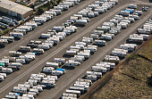 Hundreds of recreational vehicles are parked in storage as viewed from the air on June 22 over Santa Rosa California Growth has become a major...