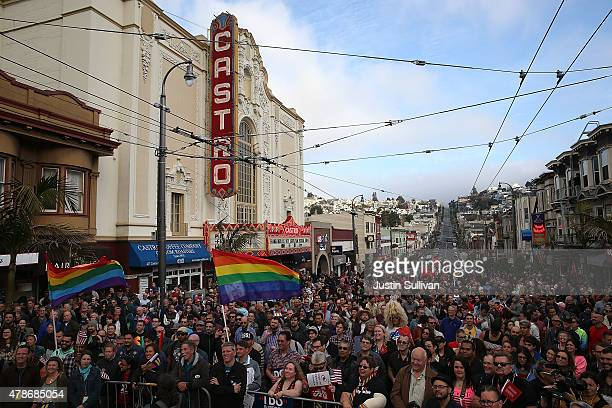 Hundreds of samesex marriage supporters stand in the middle of Castro Street while celebrating the US Supreme Court ruling regarding samesex marriage...