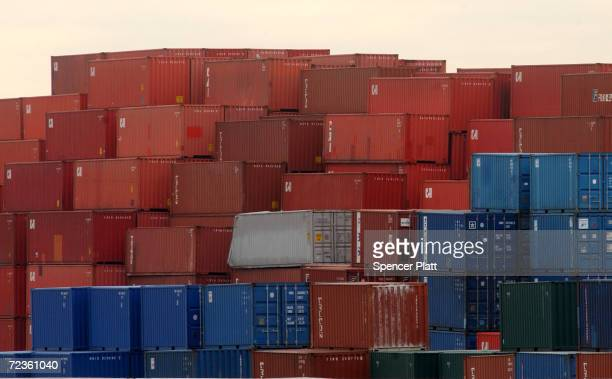 Hundreds of shipping containers stand near port Newark January 23 2002 in Newark New Jersey Some security experts believe the next terrorist attack...