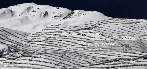 Hundreds of snow fences protect the Paznaun valley against avalanches on January 11 2012 near Ischgl Austria Over the last few days heavy snowfalls...