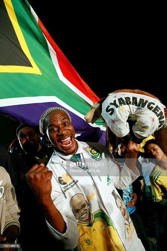 Hundreds of South African fans descend on the Fan Fest at the New North Beach in Durban on June 16, 2010 to watch the 2010 World Cup match between South Africa and Uruguay on the sixth day of thetournament.