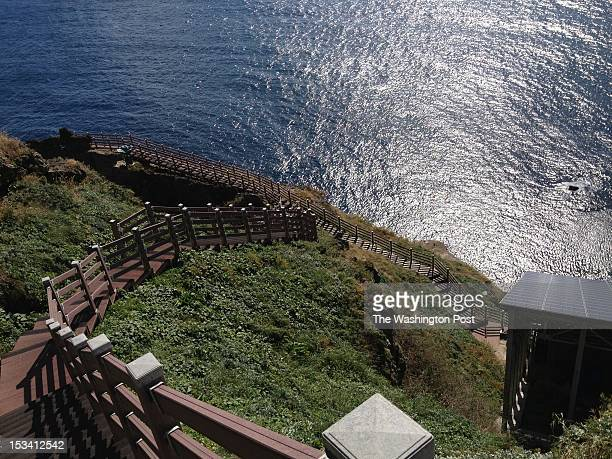 Hundreds of steps crisscross the Dokdo island in South Korea on October 4 2012