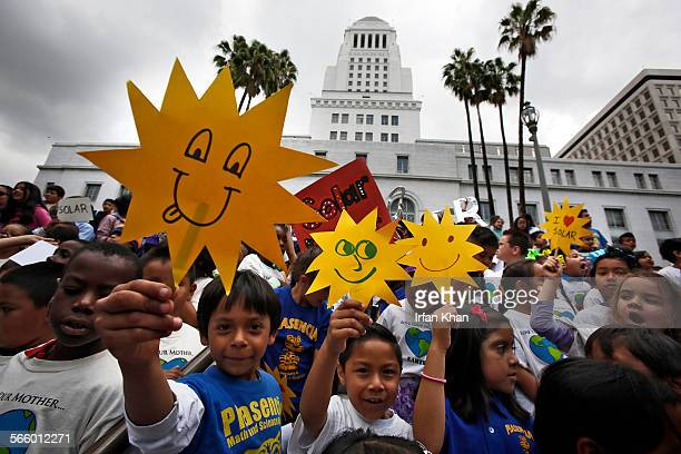Hundreds of students from Betty Plasencia Elementary School rally in front of City Hall in support of bringing more solar power to Los Angeles