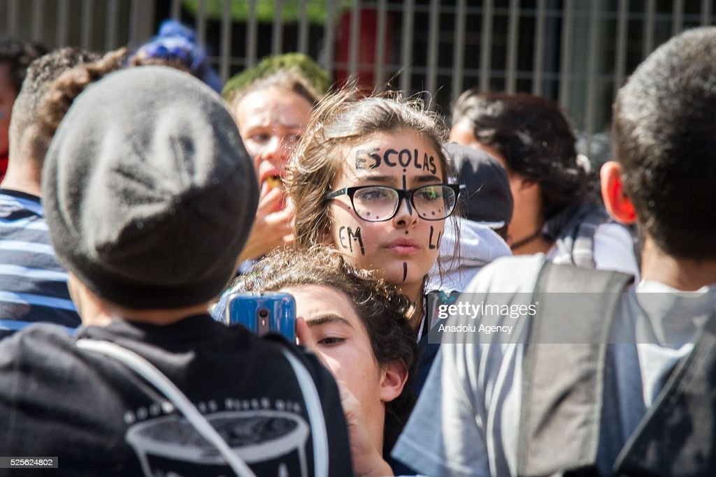 Hundreds of students from the state public schools attend a demonstration against diversion of funds for school meals in Sao Paulo, Brazil on April 28, 2016.