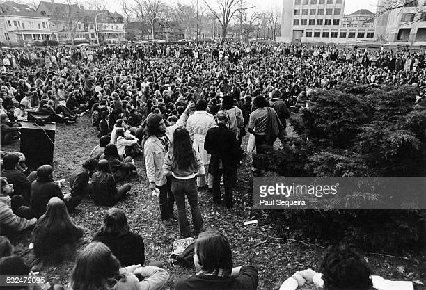 Hundreds of students gather on the Northwestern University campus to protest the deaths of four Kent State University students at the hands of...