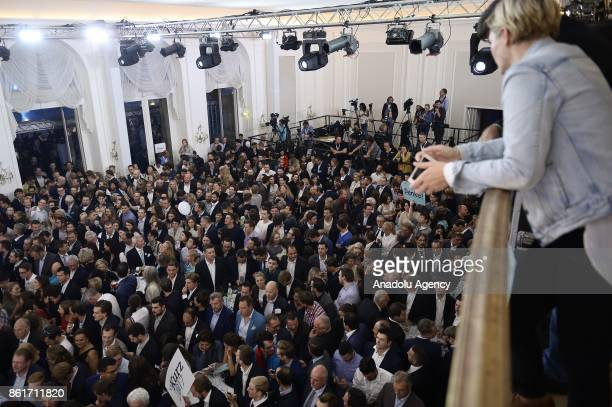 Hundreds of supporters of Sebastian Kurz leader of OVP party attend the party celebration during the parliamentary elections in Vienna Austria on...