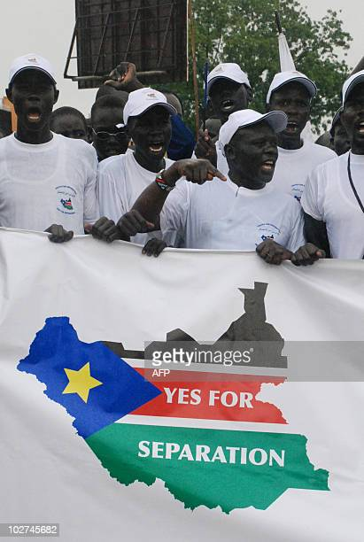 Hundreds of supporters of south Sudan independence rally in Juba on July 9 six months ahead of a crucial referendum that could lead to the partition...