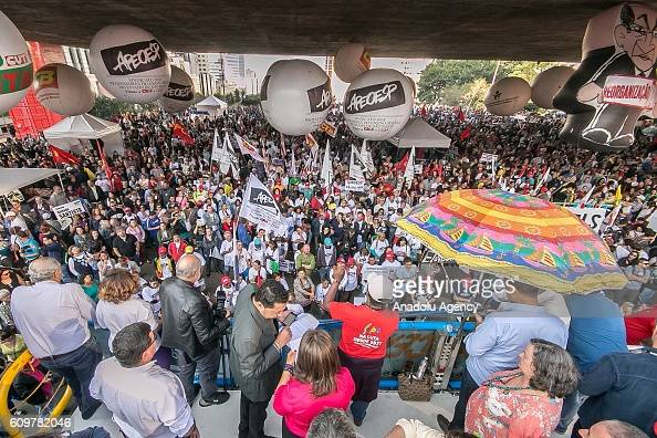 Hundreds of teachers rally against changes in the rules on retirement benefits and also on changes in labor laws proposed by the President of Brazil...
