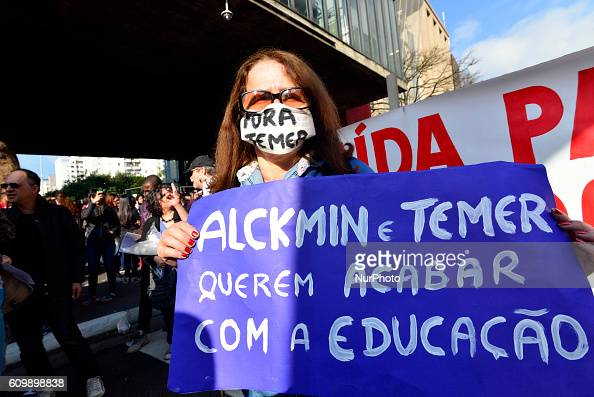 TEMER Hundreds of teachers rally against changes in the rules on retirement benefits and also on changes in labor laws proposed by the President of...
