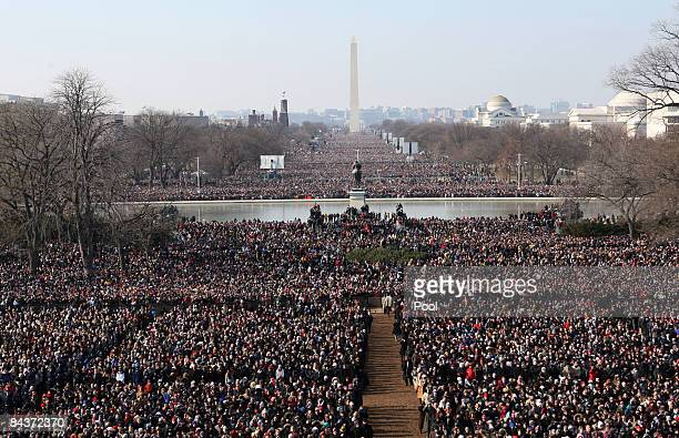 Hundreds of thousands gather on the National Mall during the inauguration of Barack Obama as the 44th president of the United States of America...